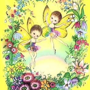 vintage retro kitsch pixies elf elves fairy fairies dance dancing dancers ballerinas ballet flowers wreaths floral rainbow colorful
