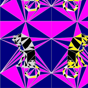 Silver & Gold, Raspberry & Ice - Cubist Cats