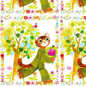 vintage retro kitsch cats pussy floral flowers wreath borders trees leaves birds bouquets ladybirds suits stripes Anthropomorphic whimsical