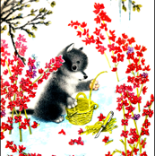 vintage retro kitsch puppy puppies dogs flowers blossoms baskets weaving knives knife husky huskies