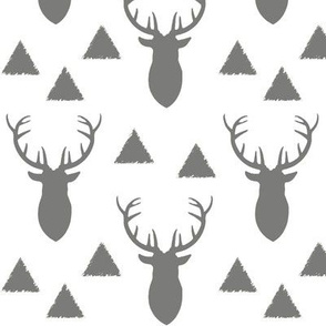 Deer Triangles Vintage Gray White