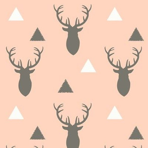 Gray and Pink Deer and Triangles