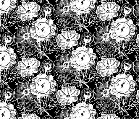 Flowers And Gears Black And White