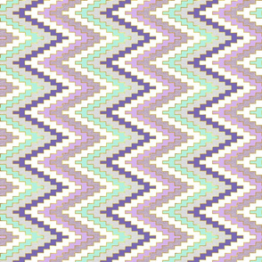 Small Scale Railroaded Bright Mint and Violet Chevron