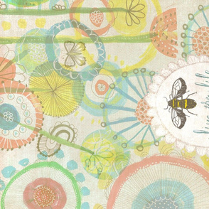 Bee and Butterfly Garden Tea Towel
