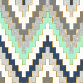 Luxe Chevron in Navy, Charcoal and Mint