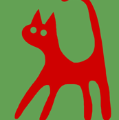 Red Cat on Green Single