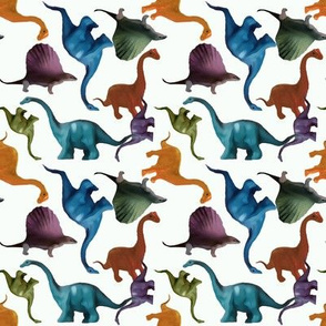 Colorful Dinosaurs on White Background