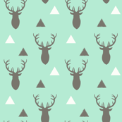 Woodland Deer Triangles Gray and white Mint