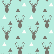 Gray and White and Aqua Deer Heads and Triangles