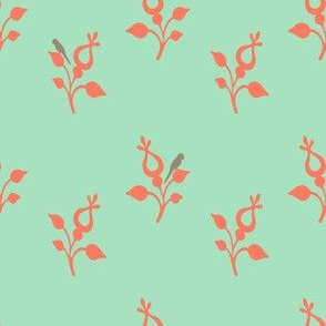 coral_flowers_gray_bird_on_mint_offset