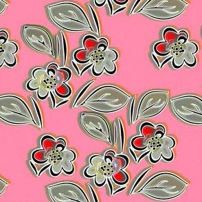 Folk floral pink