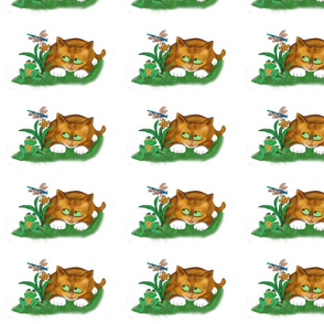 Over_by_the_Pond_Sit_Frog__Kitten_and_a_Dragonfly_-_Spoonflower