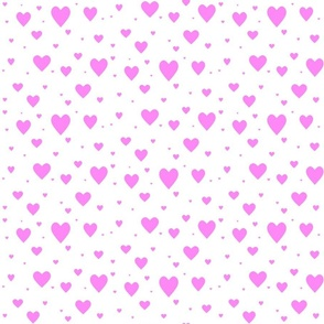 Hearts - pink on white