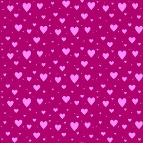 Hearts - pink on dark pink