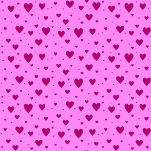 Hearts - dark pink on pink