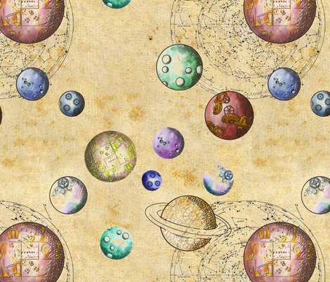 Planet repeat fabric sparklyjem spoonflower for Planet print fabric