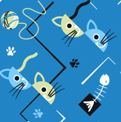 cubist cats blue