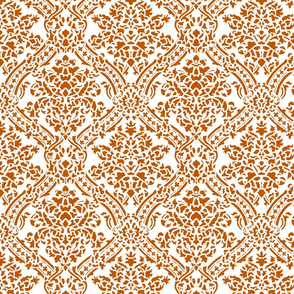 Spiced Pumpkin and White ~ Windsor Damask