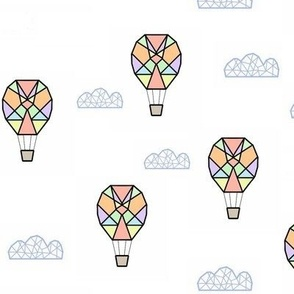 geometric hot air balloon and clouds - white