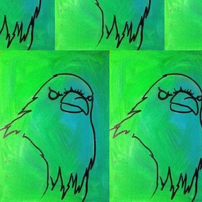 green disapproving bird
