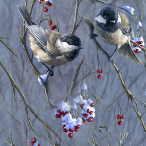 Winter Chickadees and Snowy Red Berries Beautiful Nature Wrapping Paper