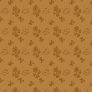 Muddy paw prints - caramel