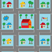 Little town play mat - red