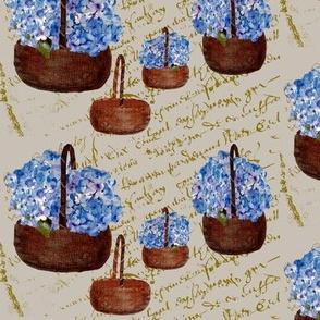 baskets_of_Hydrangeas_on_French_Script_linen