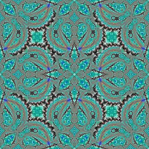 Fractal Ruffles and Leaves, Aqua and Black