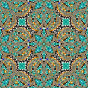 Fractal Ruffles and Leaves, Aqua with Orange