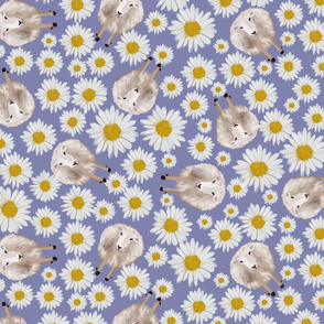 sheeps and dasies on violet