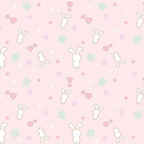 Pastel Bunny Hearts & Stars