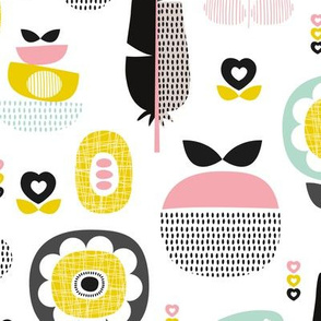 Colorful fresh poppy flowers and fruit spring summer retro  apples and feathers pattern design