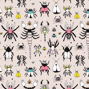 creepy insects spider fly scorpion beetle and bugs animal garden botanical summer illustration pattern