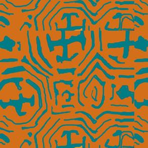 tribal orange blue-