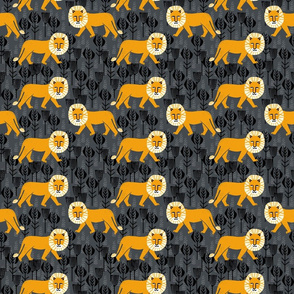 Safari Lion - Turmeric/Charcoal (Medium Size) by Andrea Lauren