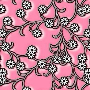 Folk Floral cotton candy pink