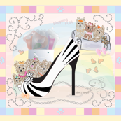 """Yorkie - Shoe Shopping - REVISED to 42x36"""" Quilt Panel"""