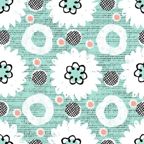 Flowers and dots-mint grunge