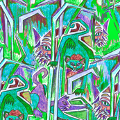 Cats in the grass teal