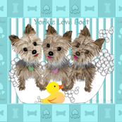 Yorkie Bubble Bath Quilt Panel Fabric