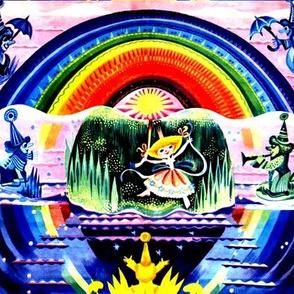 vintage retro kitsch fairies fairy gnomes elf elves pixies umbrellas rainbow queen princess musician trumpets stars whimsical sun rays