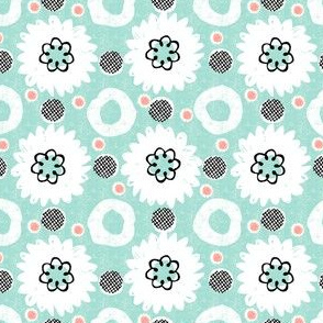 flowers and dots-mint