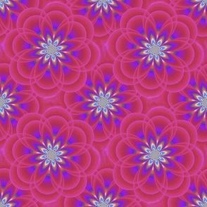 Red- Violet Fractal Flowers
