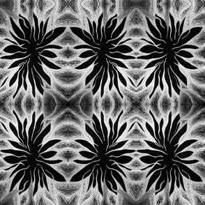 Black & Silver Abstract Flower
