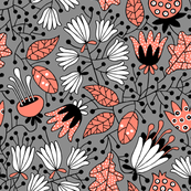 Flowers coral on gray