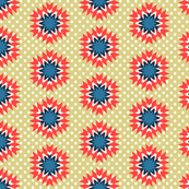 zig zag flowers on dots