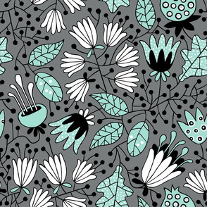 Flowers mint on gray