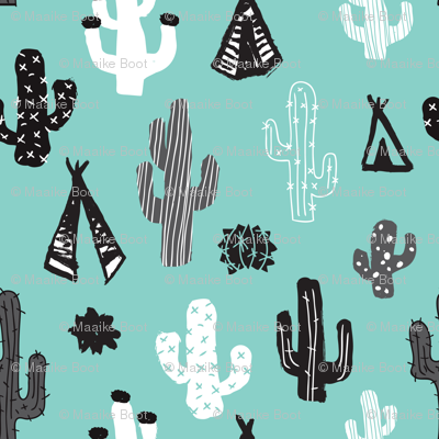 Blue black and white cactus and teepee botanical summer